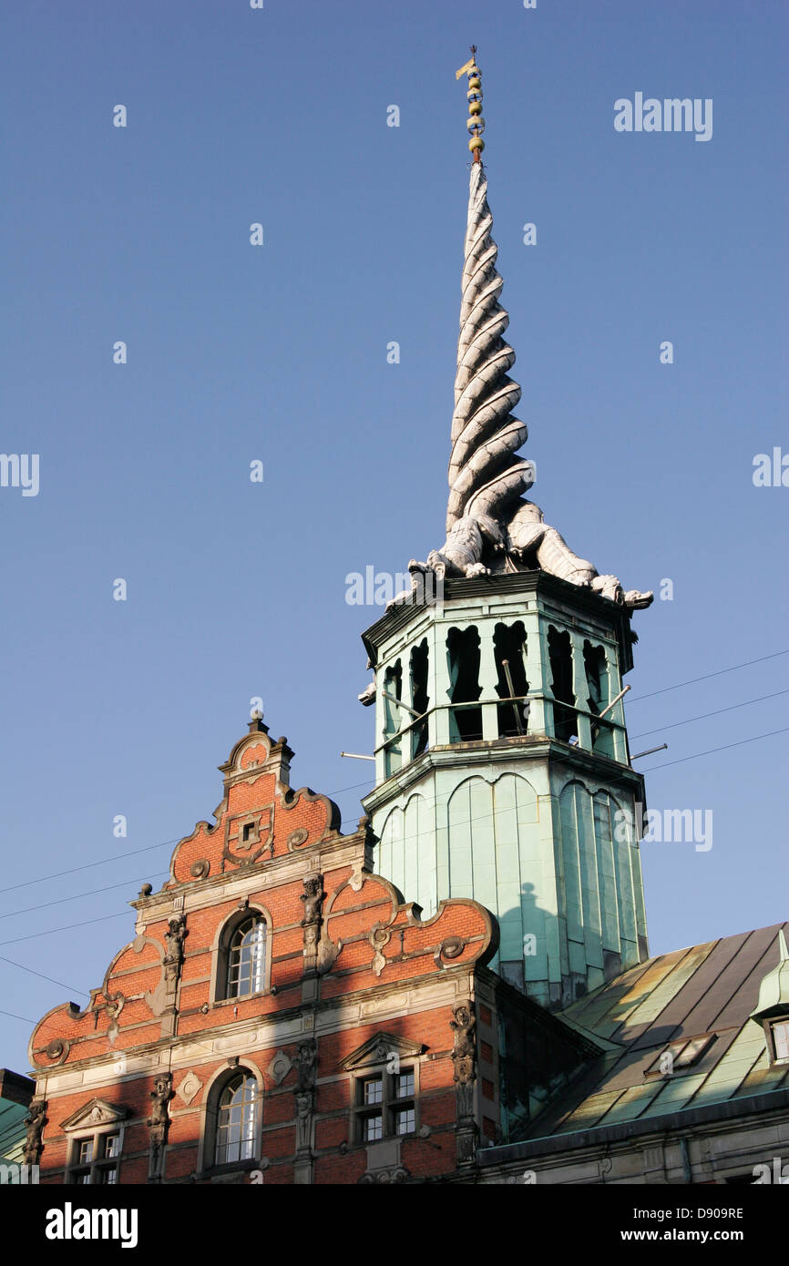 Ornate spire of Børsen (Borsen), the stock exchange building and the oldest in Europe chamber of commerce, - Stock Image