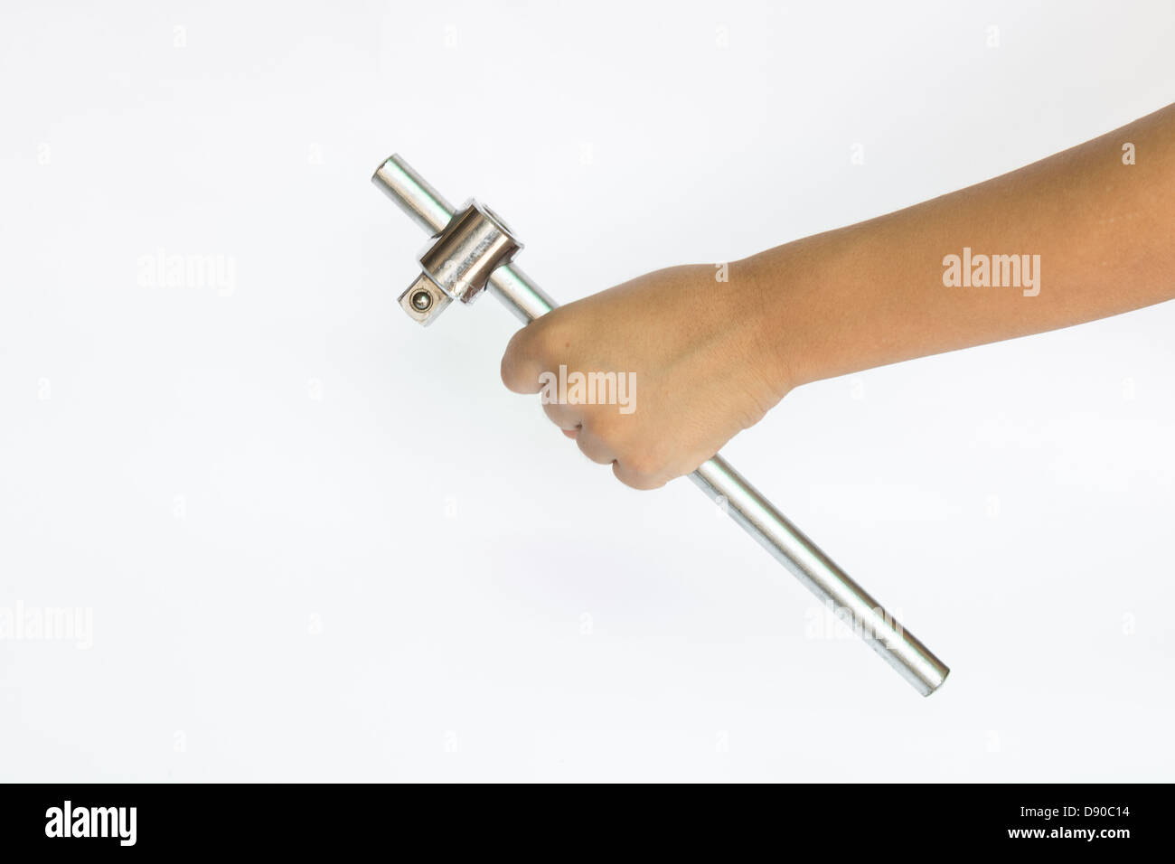 wrench on hand isolate - Stock Image