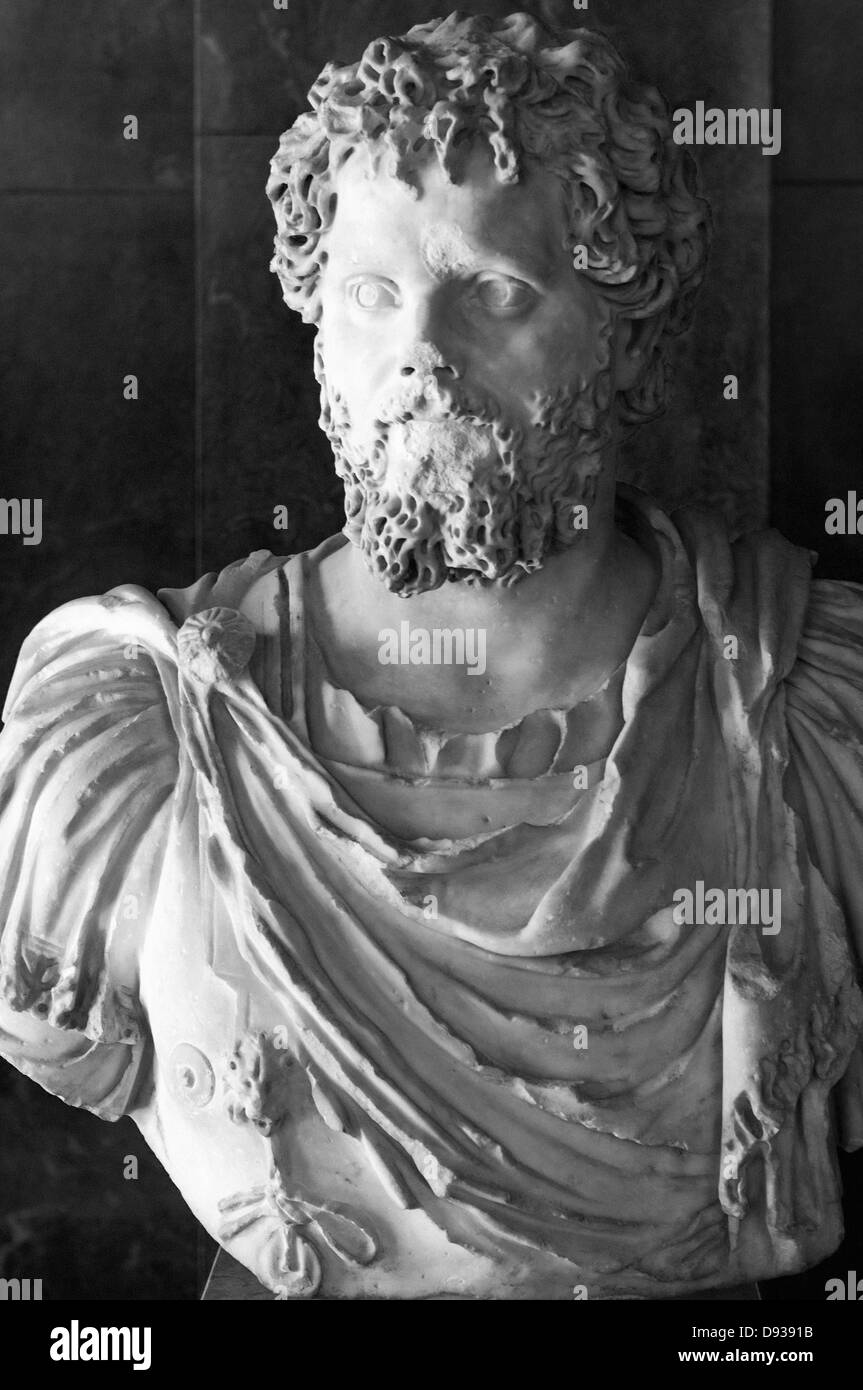 Marc Aurèle II century after JC Roman sculpture marble - Stock Image