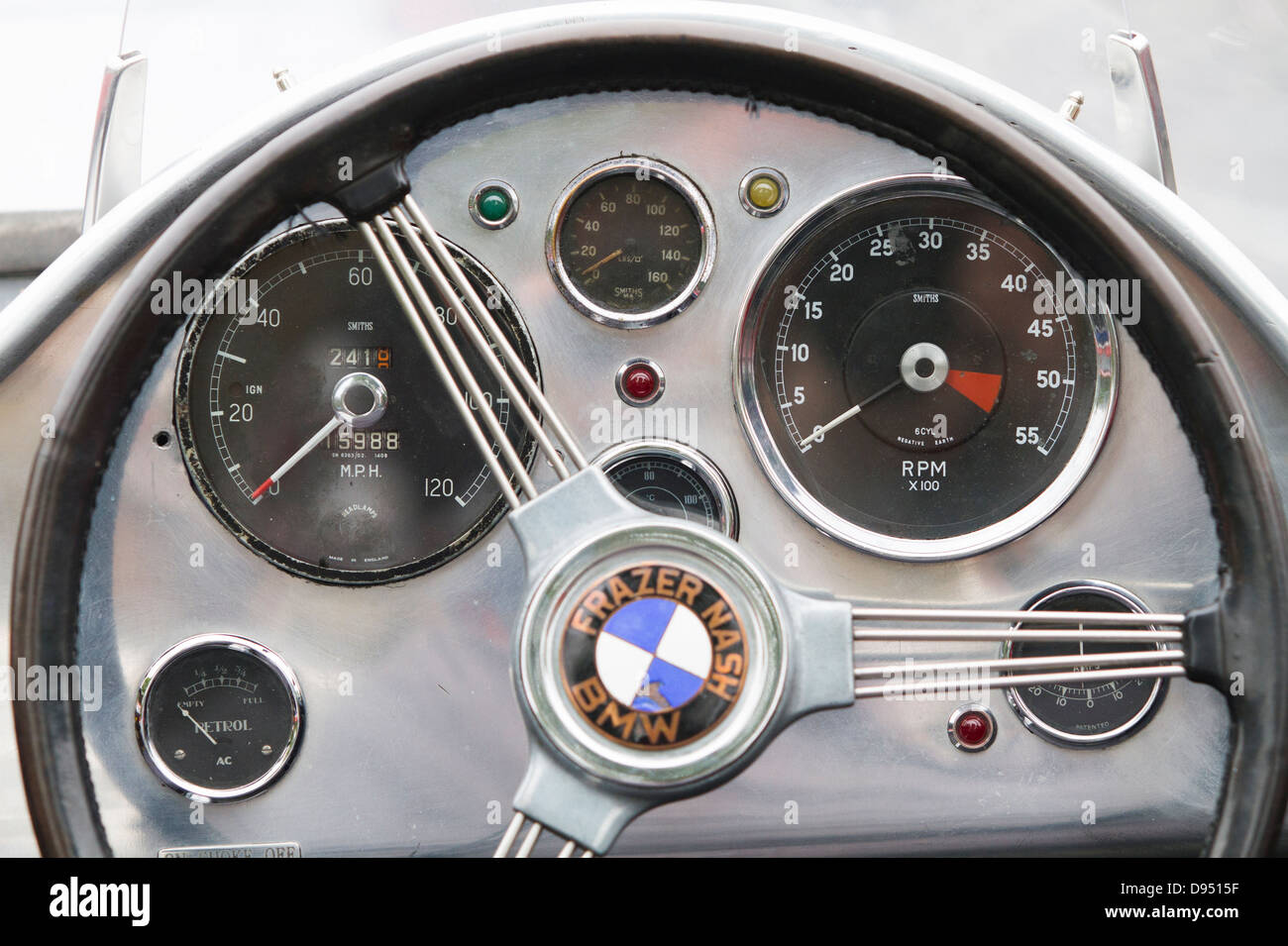 Interior Dashboard Of A Classic Bmw Car Pictured Outdoors Stock