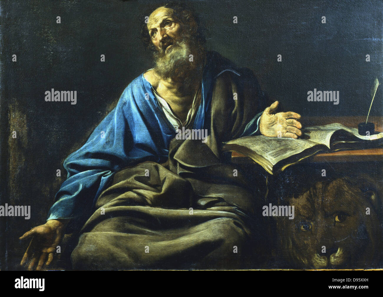 St Mark the Evangelist. From under the table St Mark's symbol, the lion, looks out.  Valentin de Boulogne (1591 - Stock Image