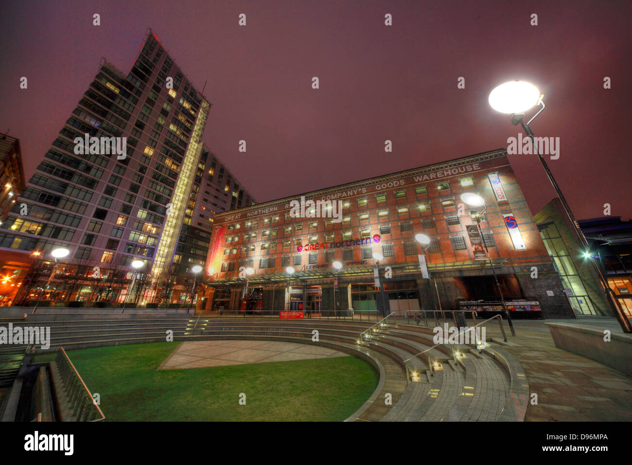 Manchester,Great,Northern,Railway,Warehouse,entertainment,complex,at,dusk,night,shot,nightshot,NW,England,UK,tripod,evening,in,the,inthe,gotonysmith,gradeII,grade,II,grade2,listed,Deansgate,peter,st,street,red,blue,brick,Great,Northern,Railway,Companys,Goods,Warehouse,wide,angle,blue,hour,bluehour,development,Capital,&,Regional,and,as,of,March,2013,comprises,an,AMC,cinema,a,casino,a,bowling,alley,bars,a,Lifestyle,Fitness,gym,and,a,multi-storey,car,park,operated,by,National,Car,Parks,Mancester,Buy Pictures of,Buy Images Of