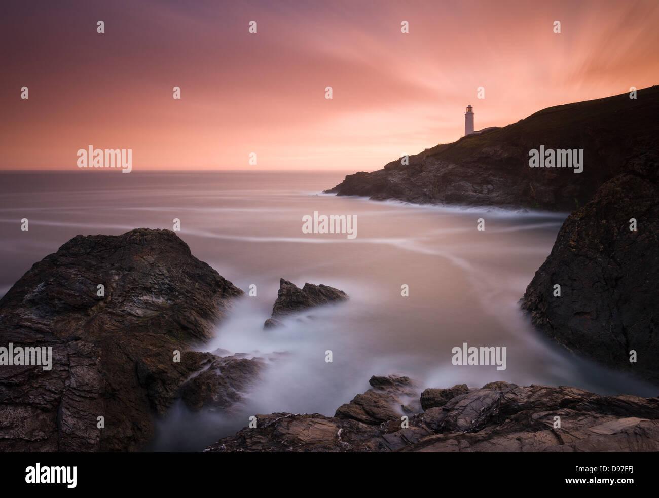 Trevose Head Lighthouse at sunrise, Cornwall. - Stock Image