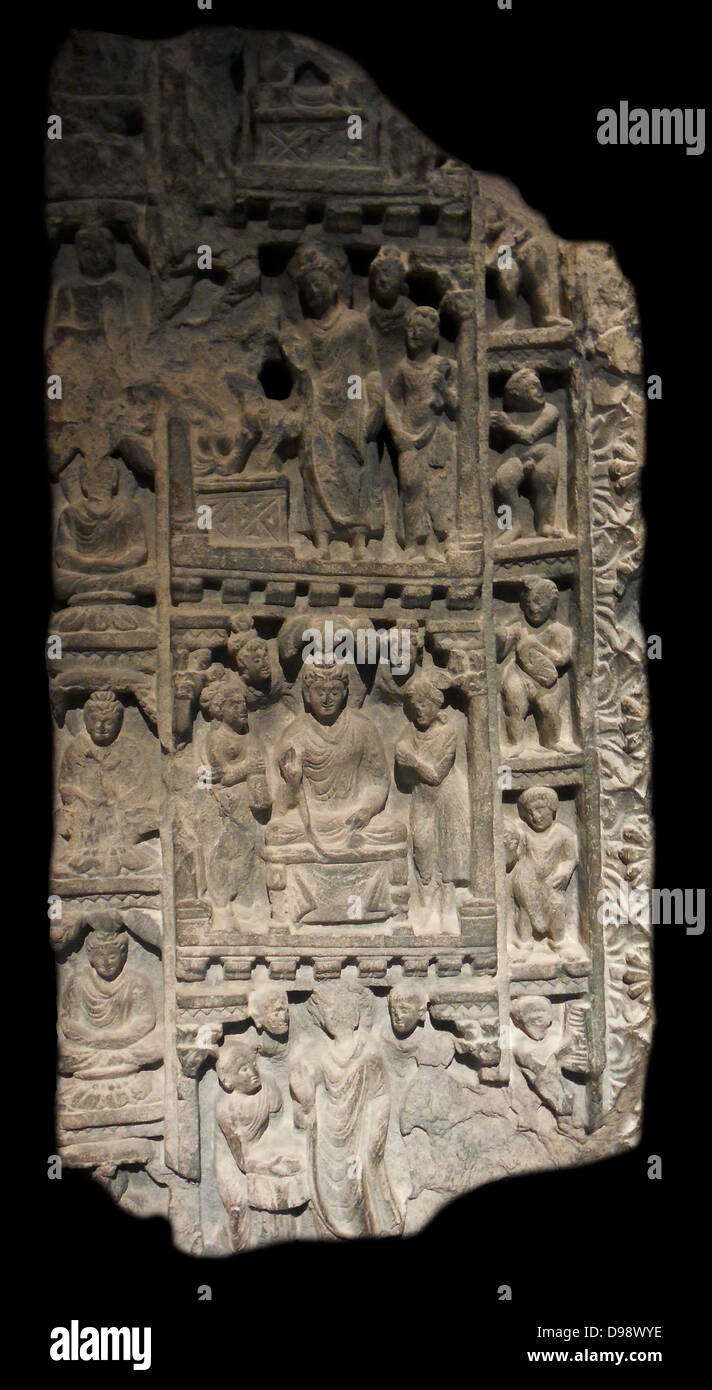 Fragment of doorframe with four historical scenes. 4th century schist sculpture found at a Buddhist monastery in - Stock Image