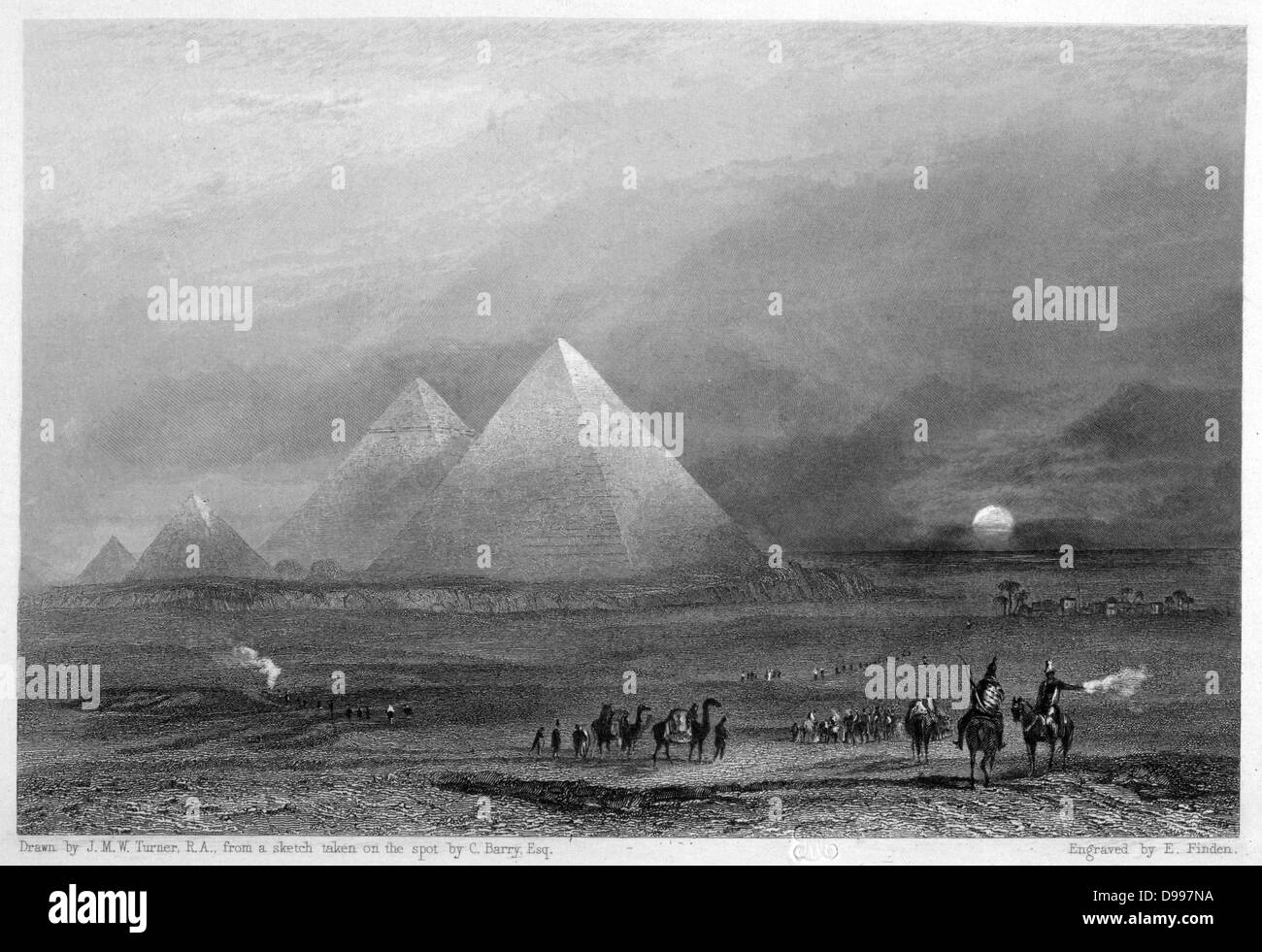 The Pyramids after a sketch by o the spot C Barry'. Engraving after JMW Turner. Egypt - Stock Image