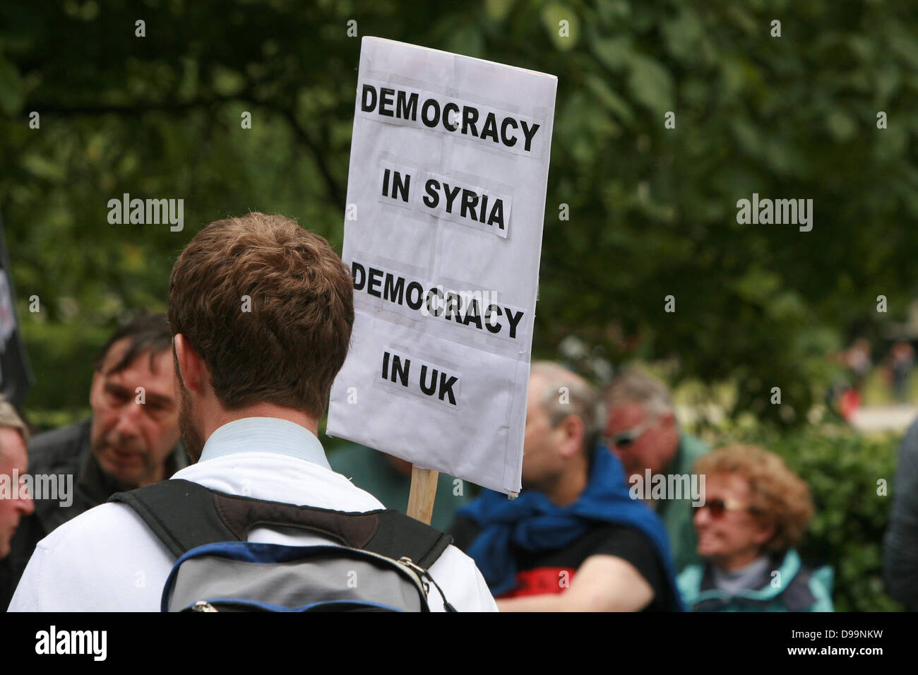 """London, UK. 15th June 2013. """"Stop the War Coalition"""" protest at the US embassy against the new Obama initiative Stock Photo"""