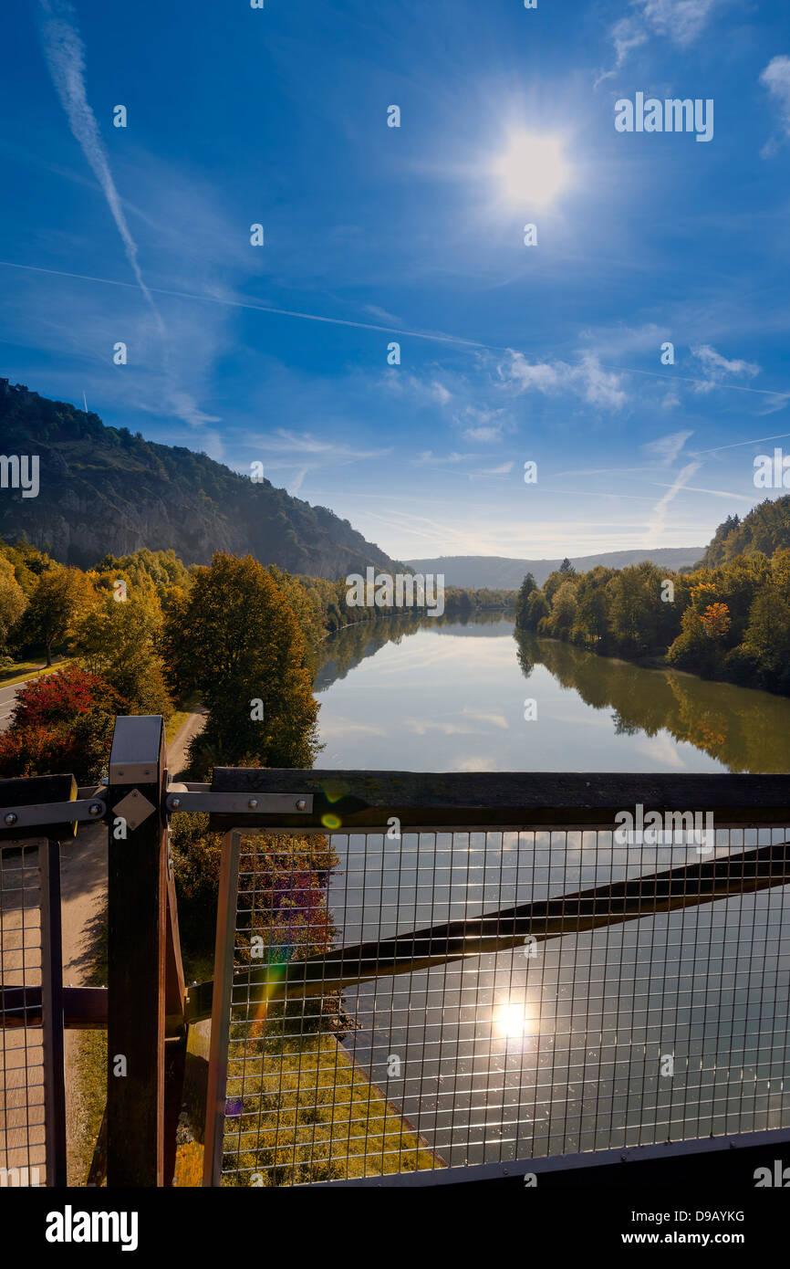 Germany, Bavaria, View of Tatzelwurm Bridge at Altmuhl River - Stock Image