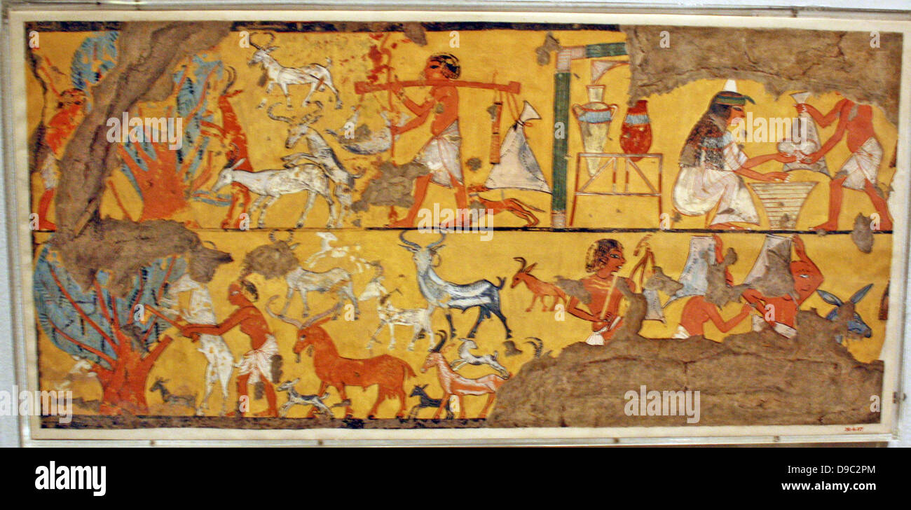 Egyptian wall paintings from The New Kingdom, facsimies of ancient ...