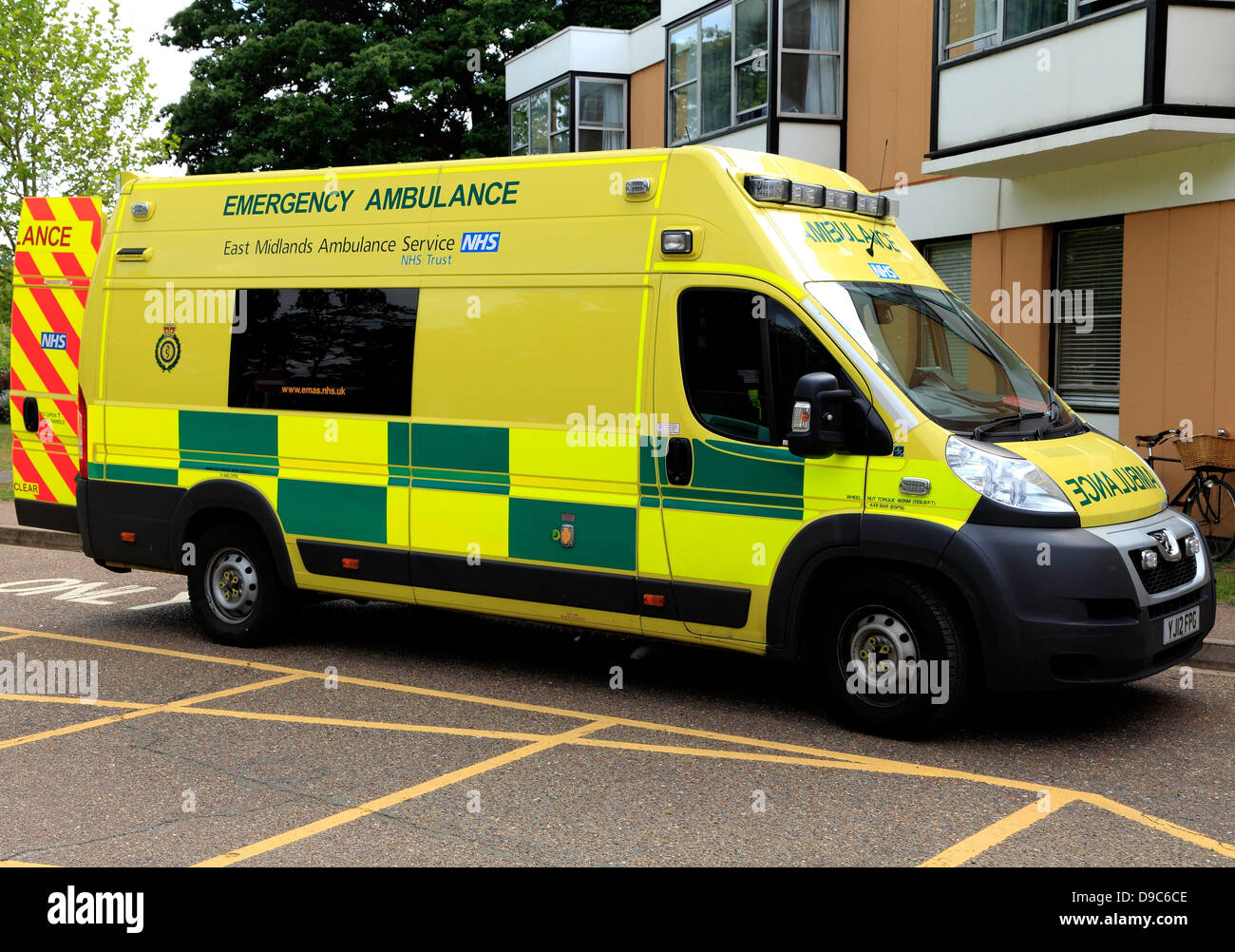 East Midlands Emergency Ambulance Service van, NHS, Kings Lynn, Norfolk, England, English ambulances, vehicle - Stock Image