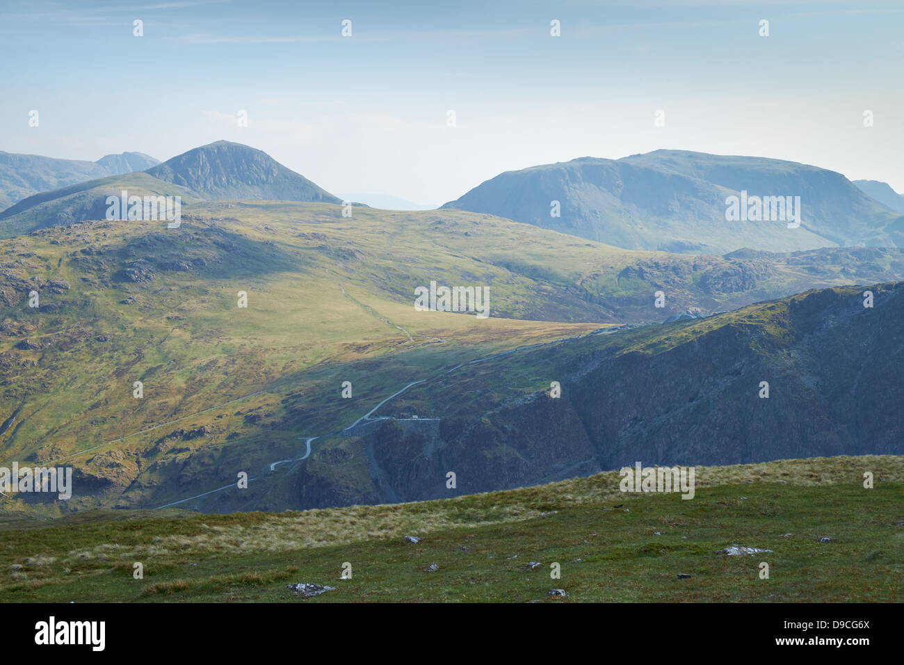 Looking over towards Grey Knotts, Fleetwith, Great Gable and Kirk Fell from the summit of Robinson in Buttermere, - Stock Image