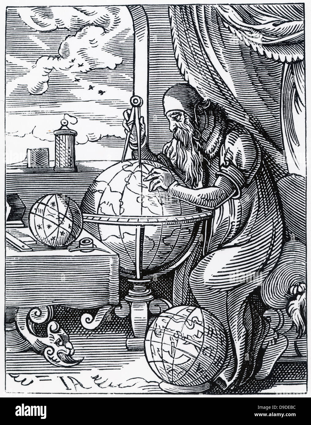 The Astronomer: sixteenth century woodcut. - Stock Image