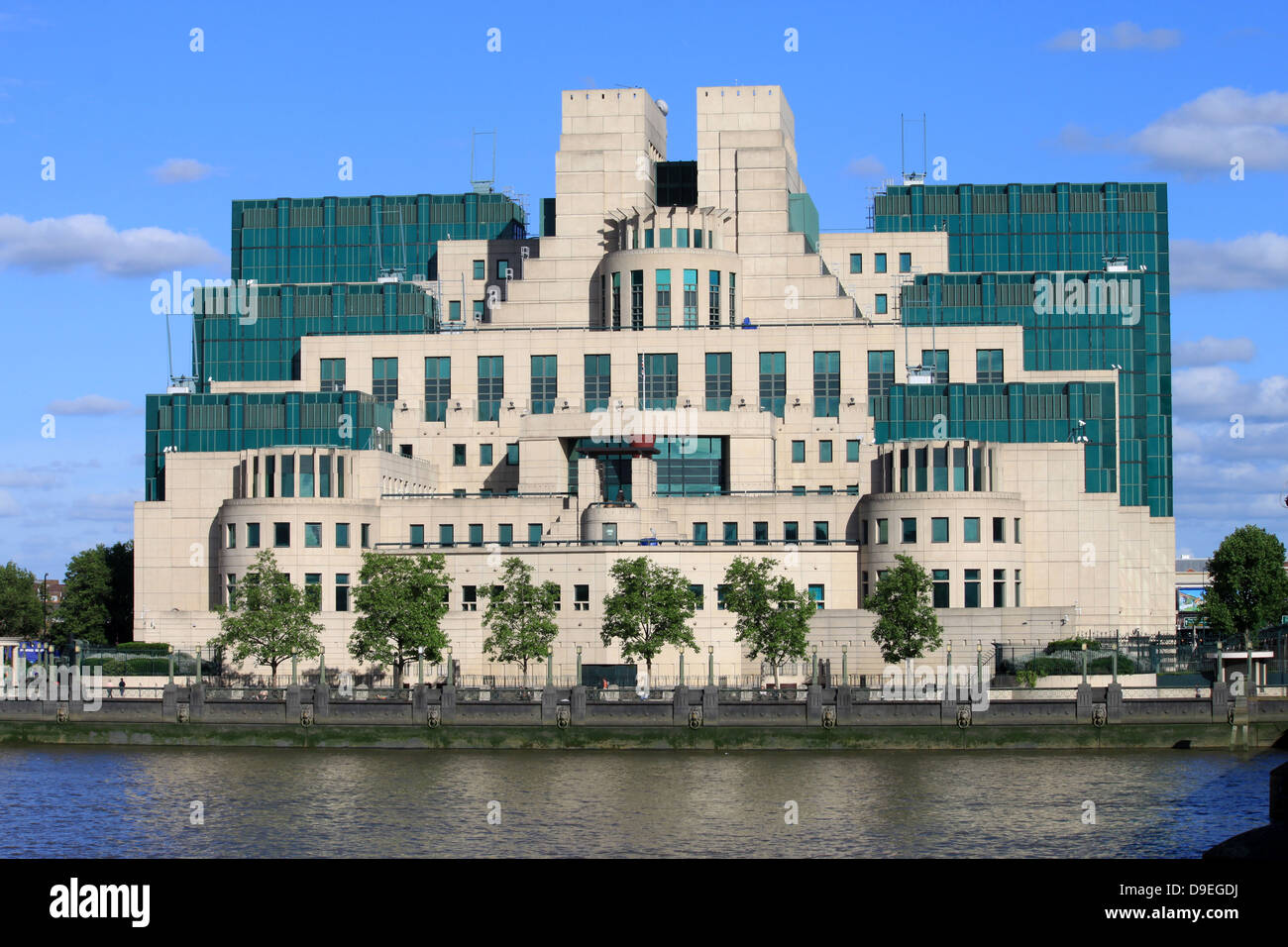 Secret intelligence services building, Vauxhall Cross, Vauxhall, London on south bank of River Thames Stock Photo