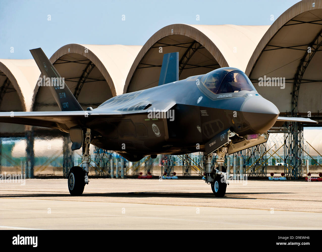 An F-35 Lightning II taxiing at Eglin Air Force Base, Florida. - Stock Image