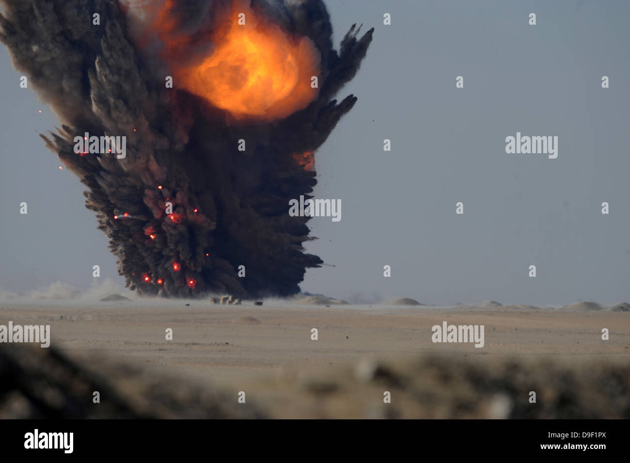 A munitions disposal explosion in Kuwait. - Stock Image
