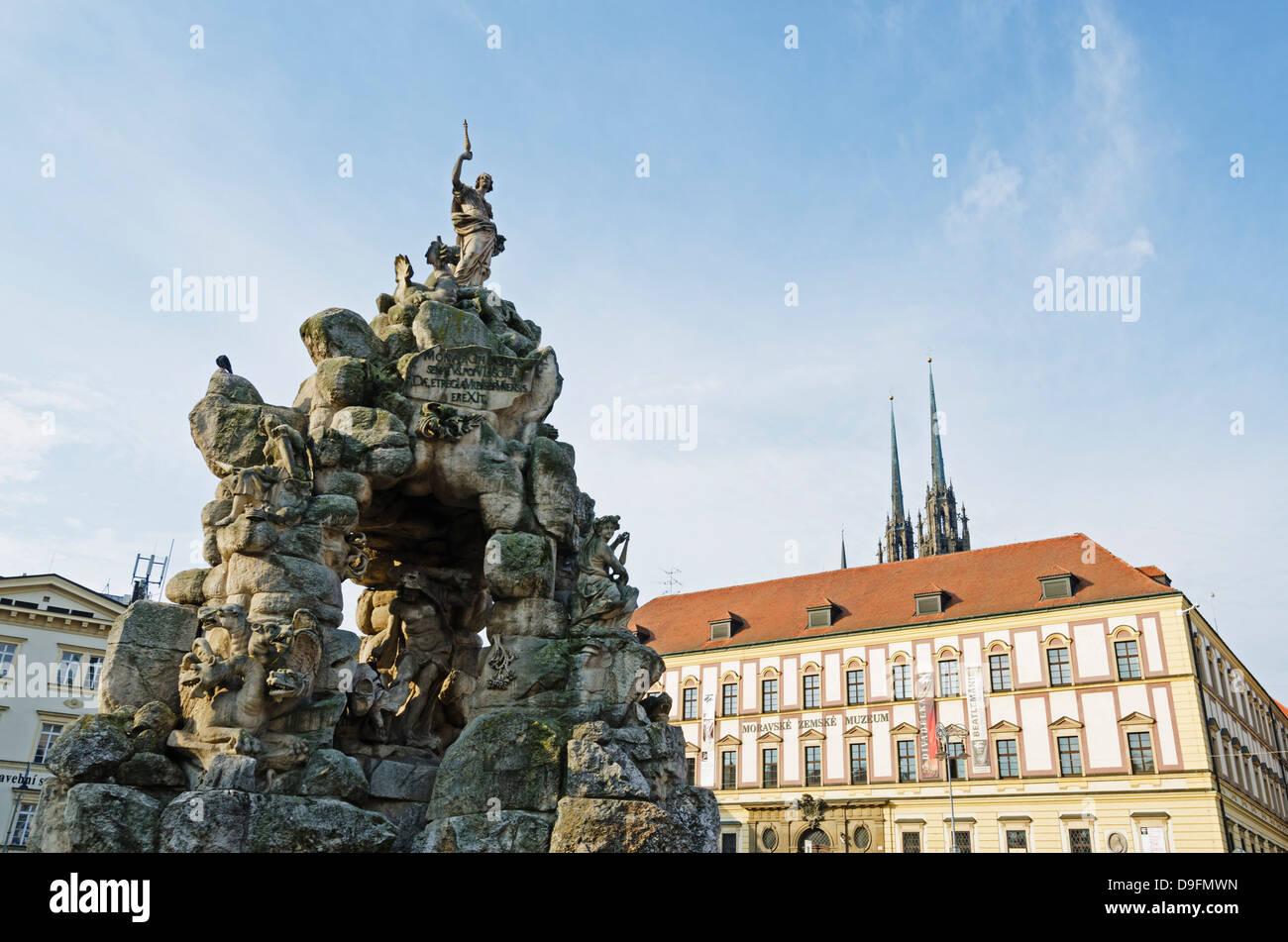Stone statue, Brno, South Moravia, Czech Republic - Stock Image