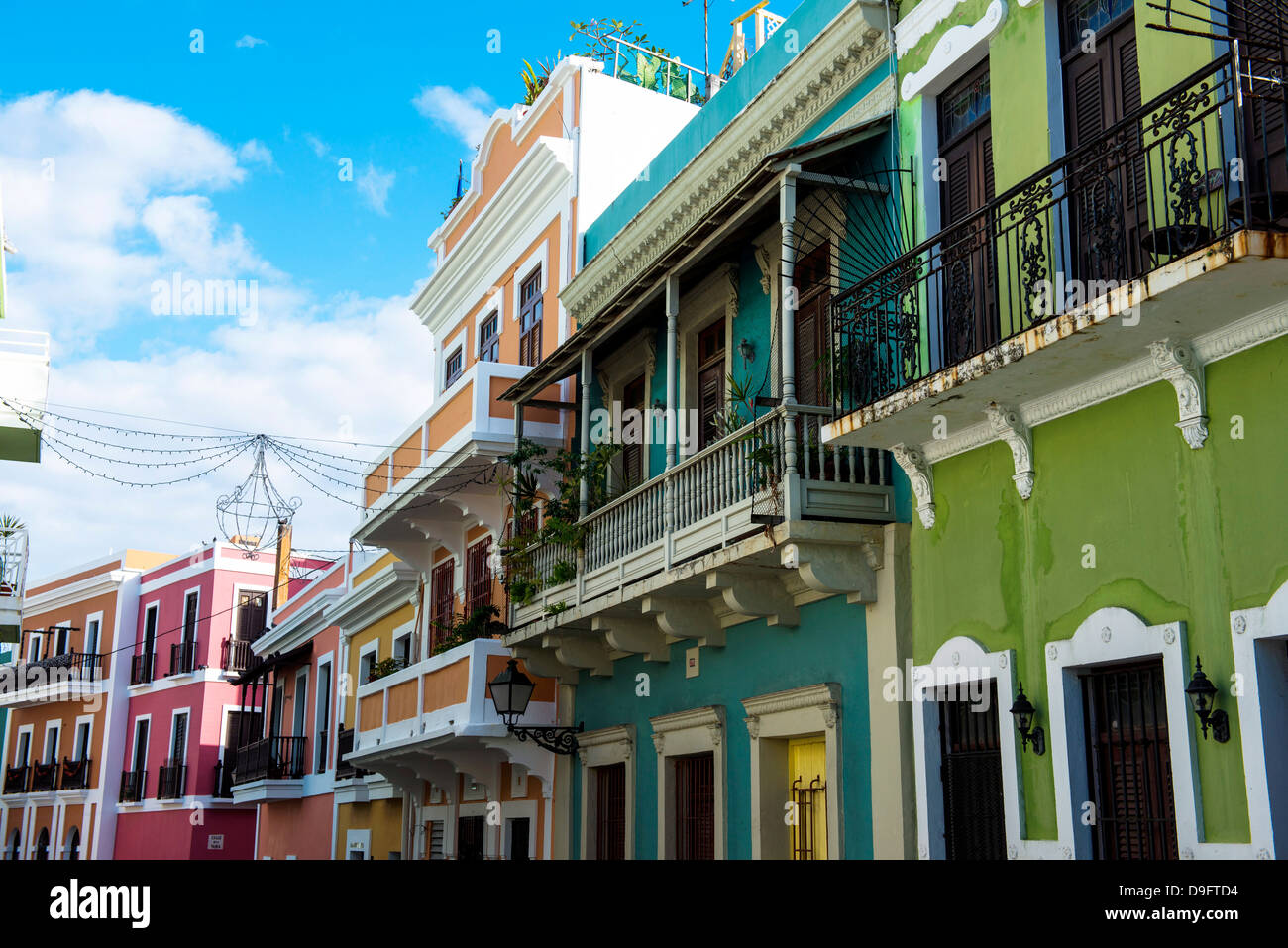 Colourful buildings in the old town of San Juan, UNESCO World Heritage Site, Puerto Rico, West Indies, Caribbean - Stock Image