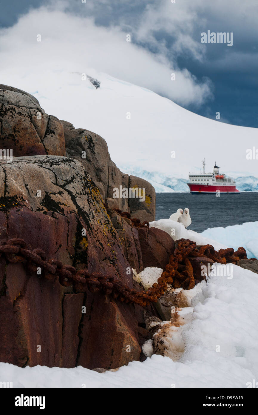 Cruise ship in the glaciers and icebergs, Port Lockroy research station, Antarctica, Polar Regions - Stock Image