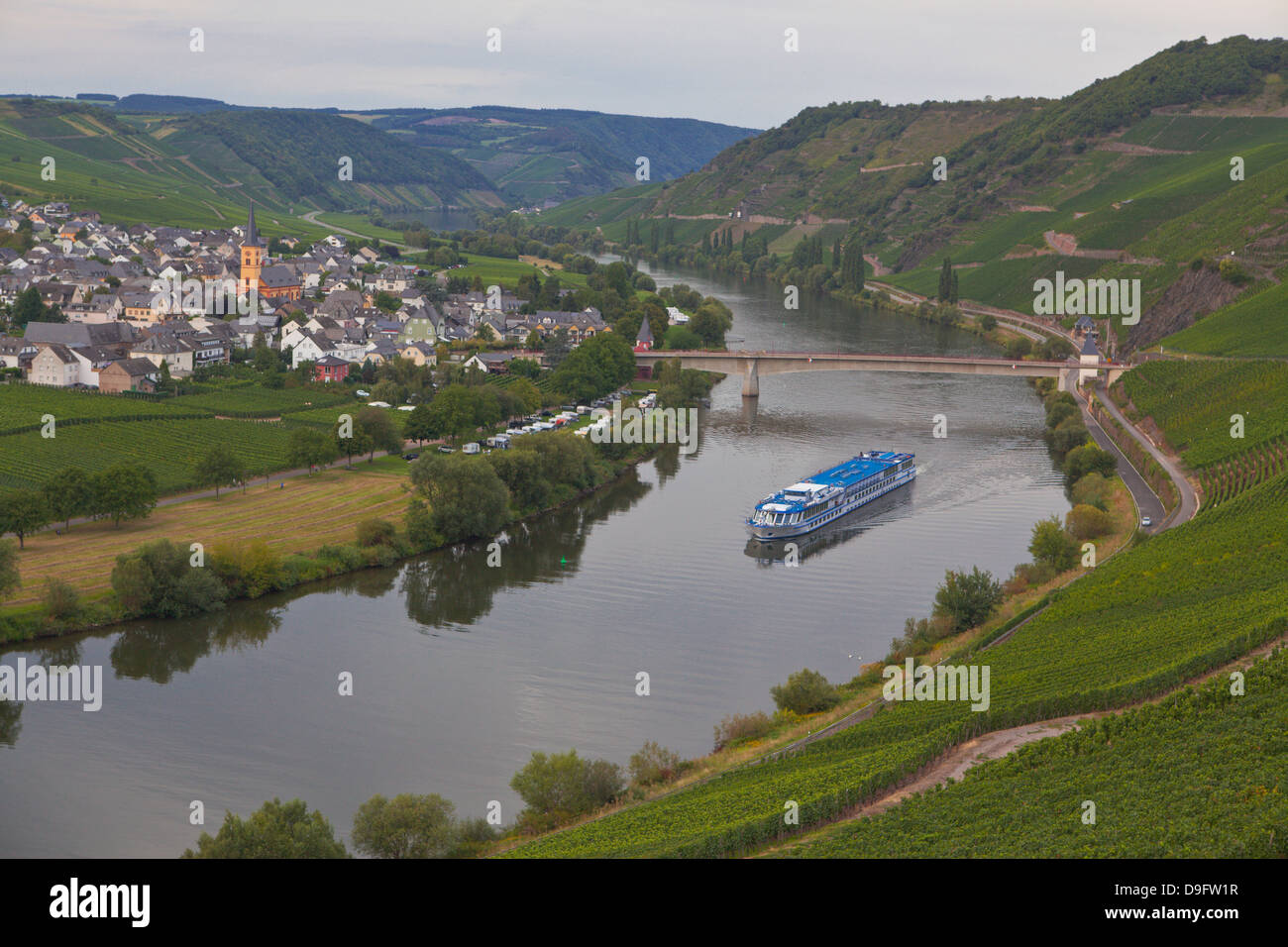 River cruise ship on the River Moselle, Germany - Stock Image