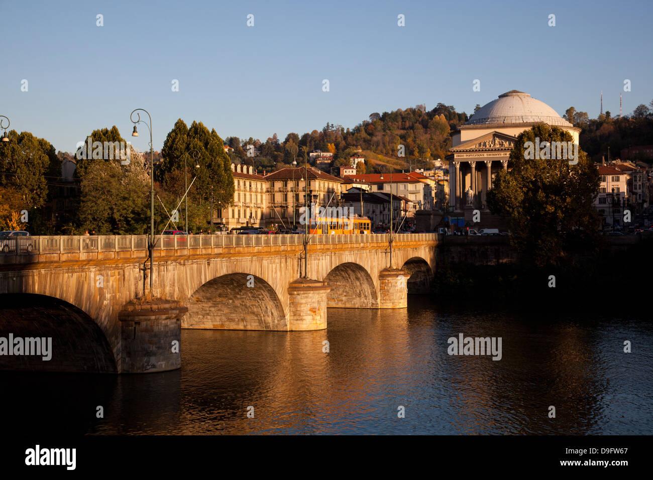 Po River, Vittorio Emanuele I bridge and Gran Madre di Dio church, Turin, Piedmont, Italy - Stock Image