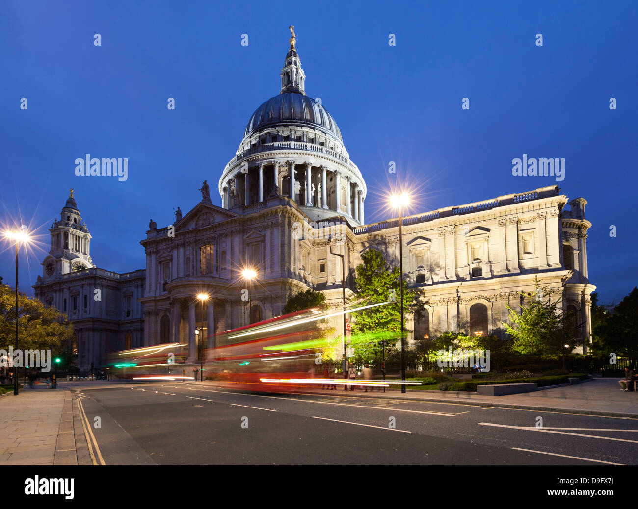 St. Paul's Cathedral at night, London, England, UK - Stock Image