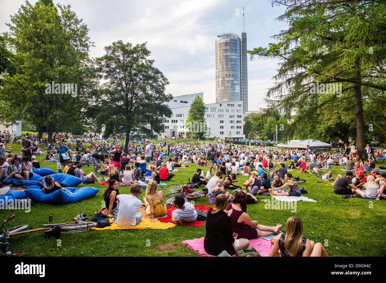 Electronic music festival in a public city park, summer festival in Essen, Germany. Picnic and electronic sound. Stock Photo