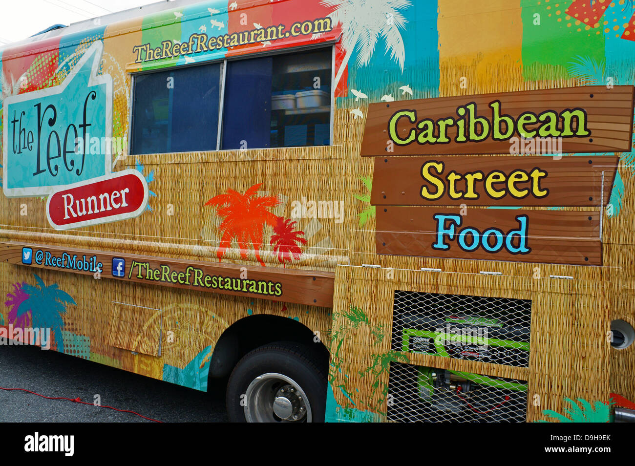 Caribbean street food truck in Vancouver, BC, Canada. - Stock Image