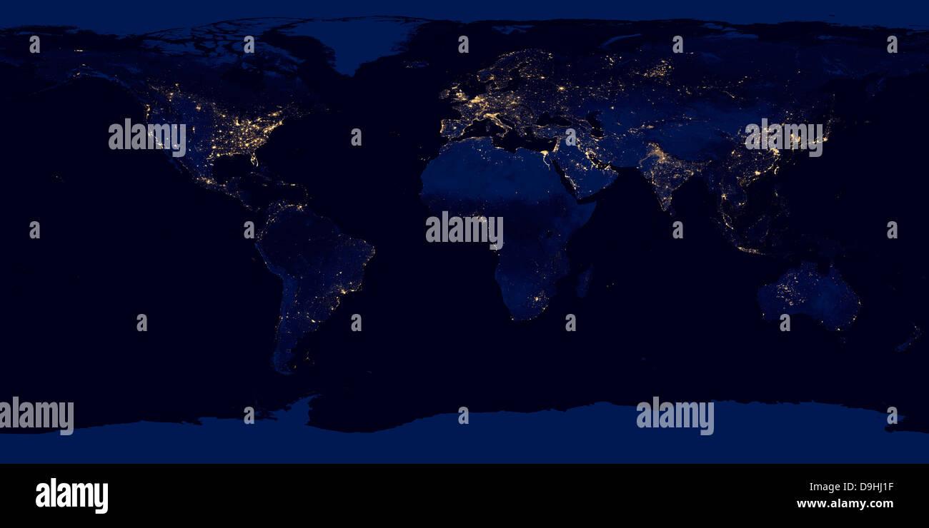 World map flat africa stock photos world map flat africa stock flat map of earth showing city lights of the world at night stock image gumiabroncs Choice Image