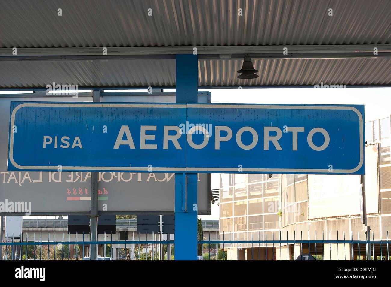 Aeroporto Pisa : A train station platform sign for pisa aeroporto pisa airport