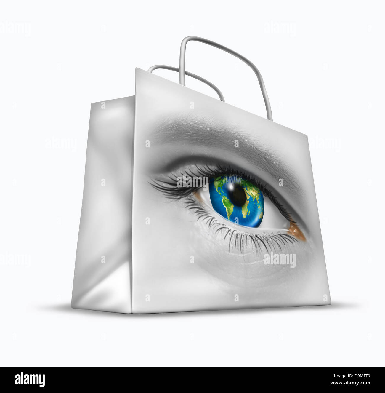Global buyer in world trade and international commerce as a business symbol of searching for the best exports and - Stock Image