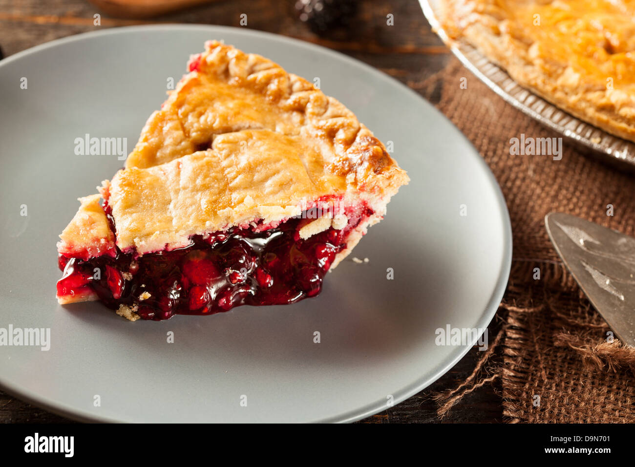 Homemade Organic Berry Pie with blueberries and blackberries Stock Photo