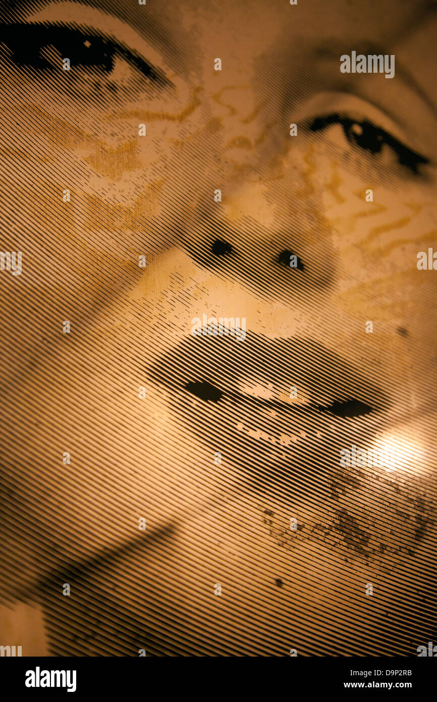 Old Scratched Marilyn Monroe Wall Mirror - Stock Image