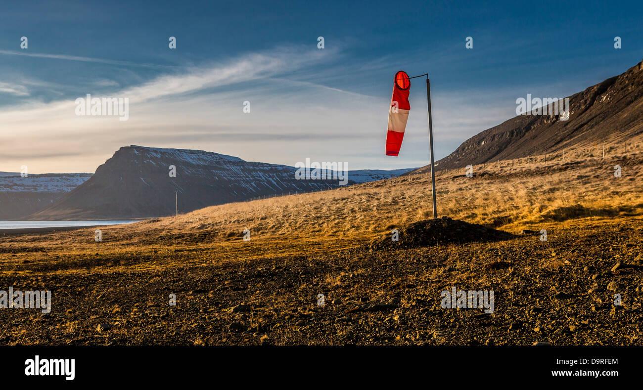 Wind sock by landing strip, Snaefellsnes Peninsula, Iceland. - Stock Image