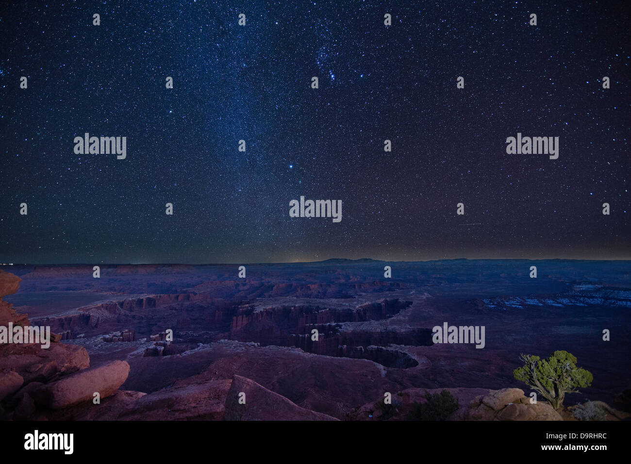 the night sky over Canyonlands from the Island in the Sky, Utah. USA - Stock Image