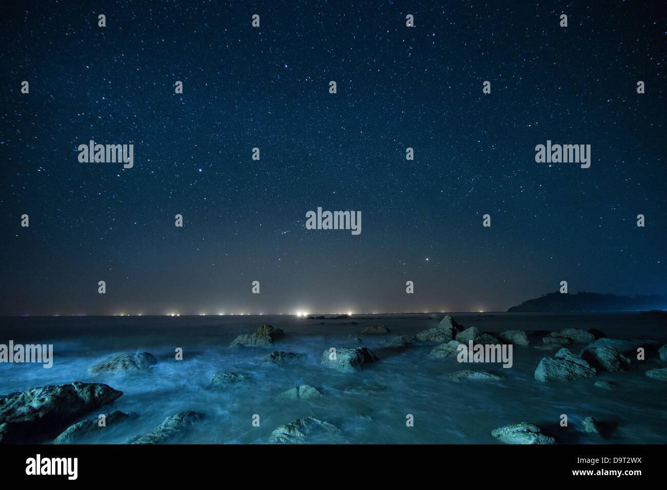 the night sky over the Bay of Bengal, Ngapali Beach, Rakhine, Myanmar (Burma) - Stock Image