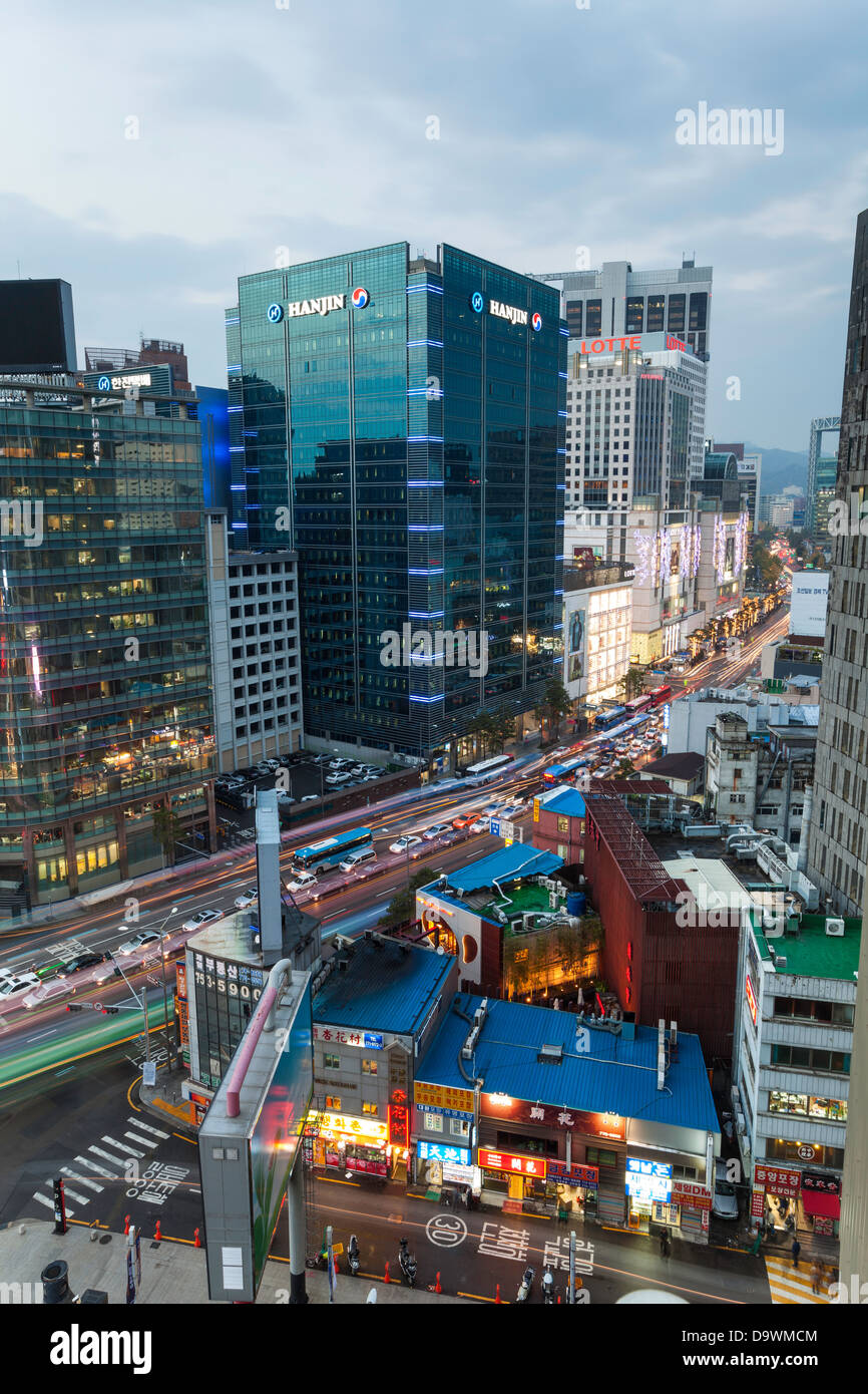 Modern architecture, Myeong-dong, Myeongdong, Seoul, South Korea, Asia - Stock Image