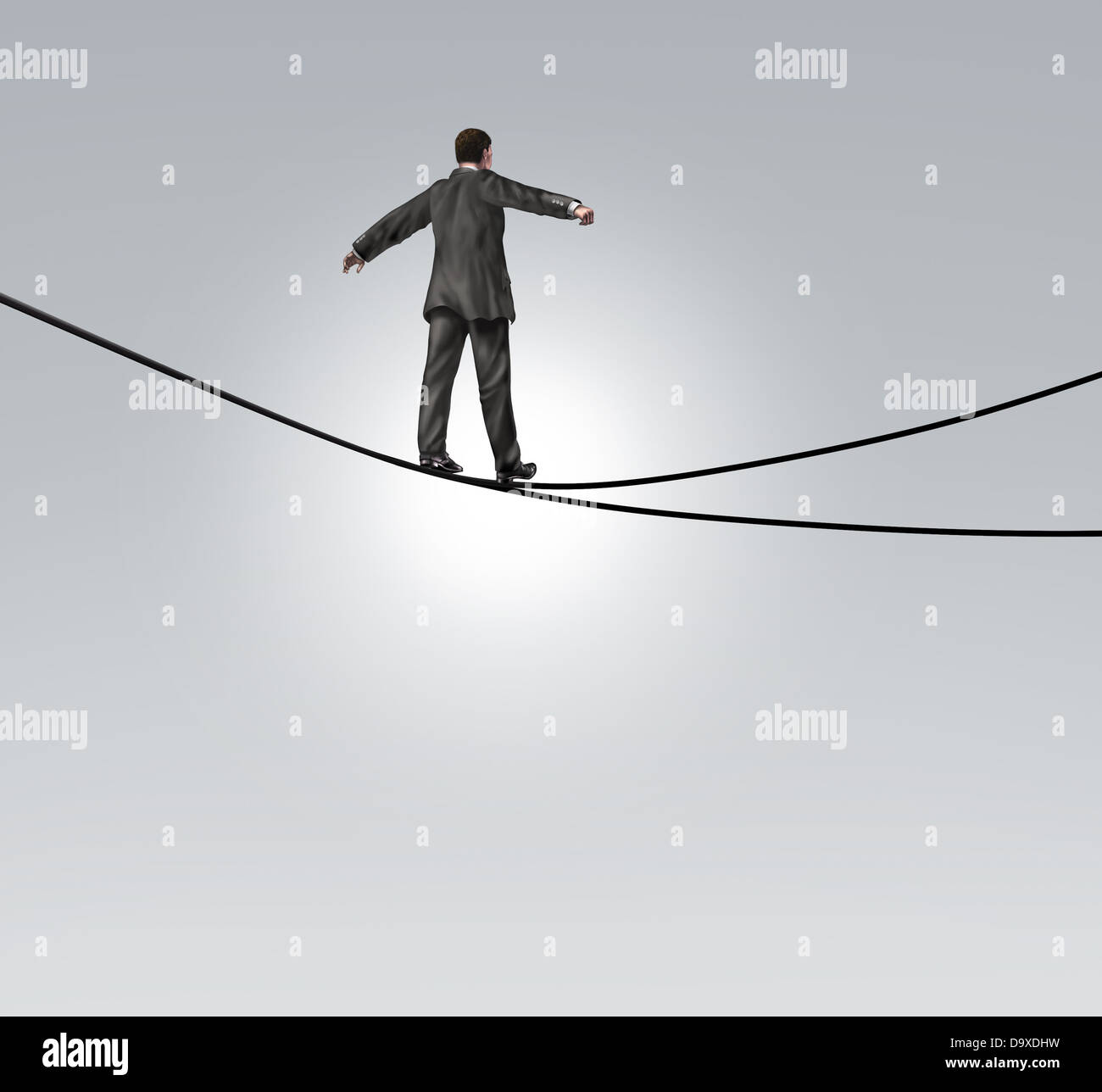 Decision risk and risky choice business concept with a businessman maintaining balance walking a high tightrope - Stock Image