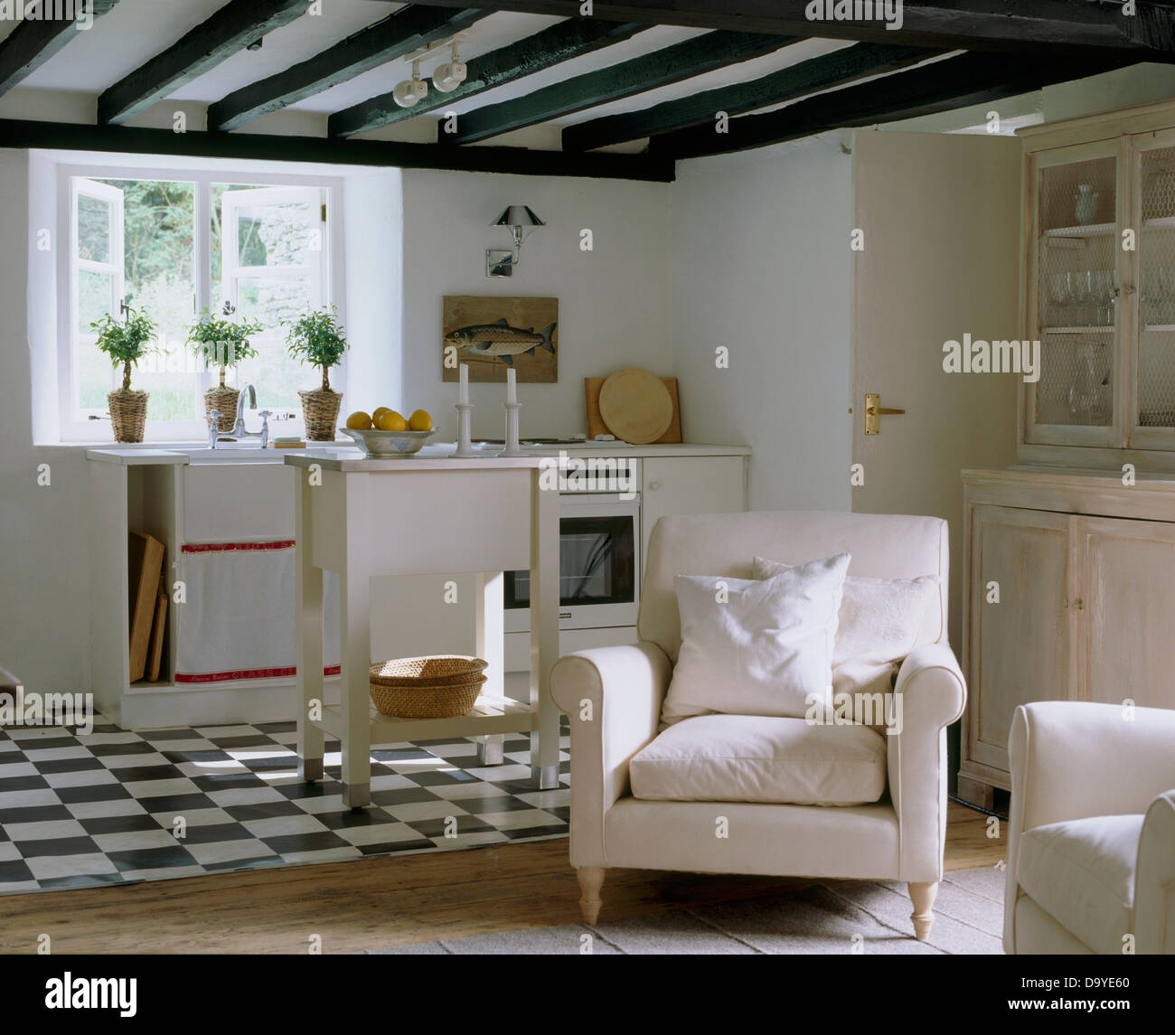 Black White Tiled Floor In White Country Cottage Kitchen Open To A