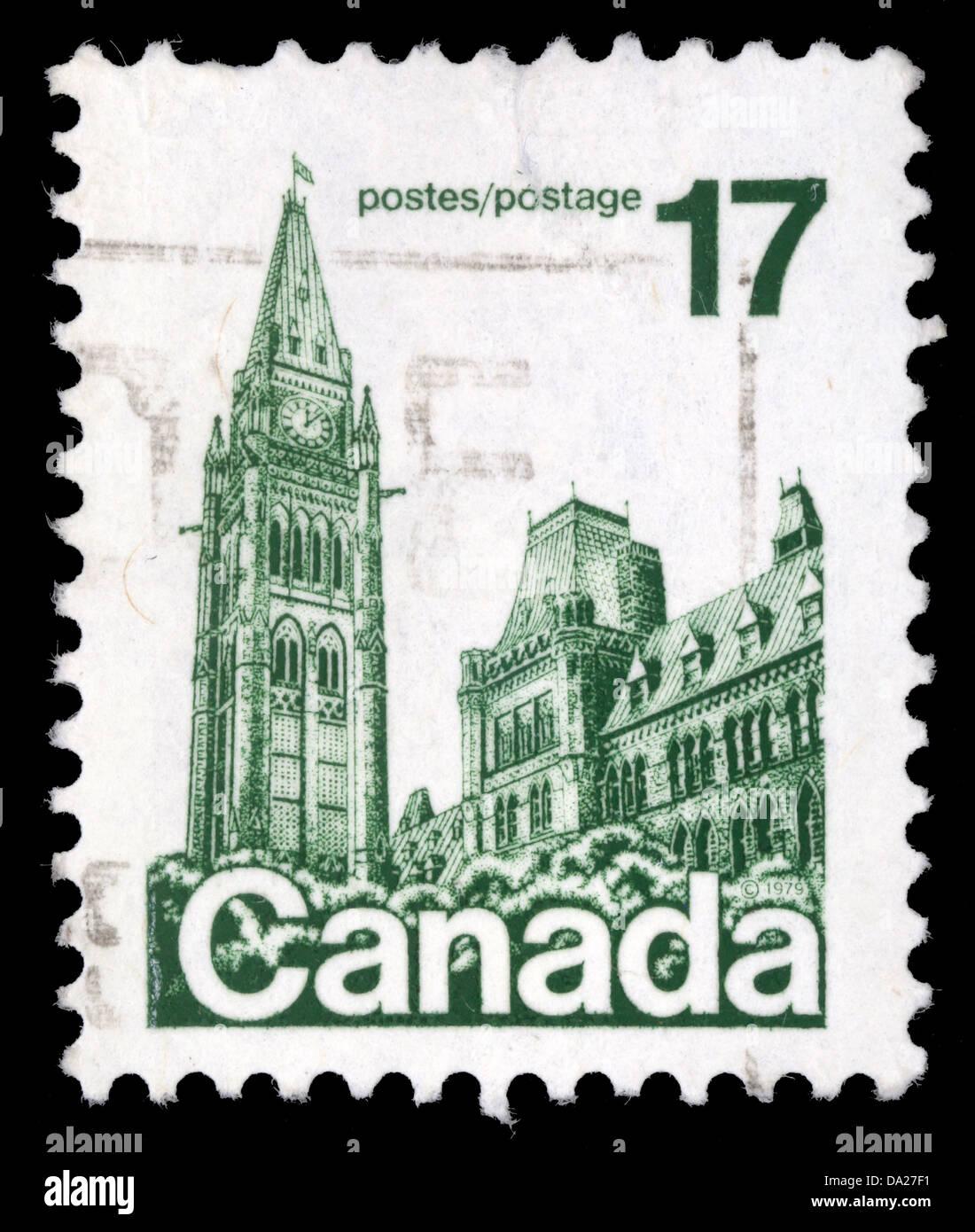 CANADA - CIRCA 1977: A stamp printed in Canada shows Parliament Buildings, circa 1977 - Stock Image