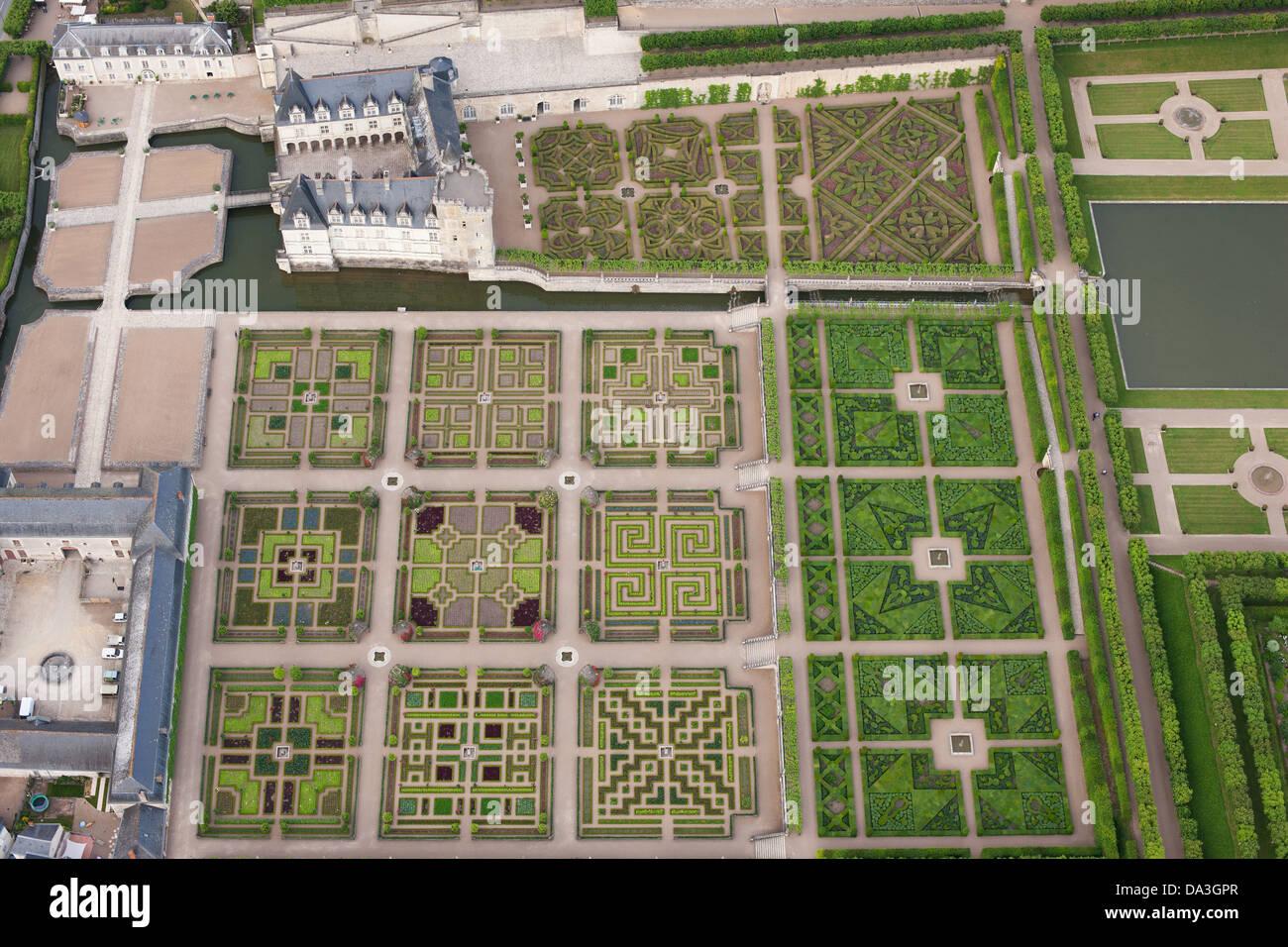 Villandry Castle Gardens Aerial View Indre Et Loire Loire