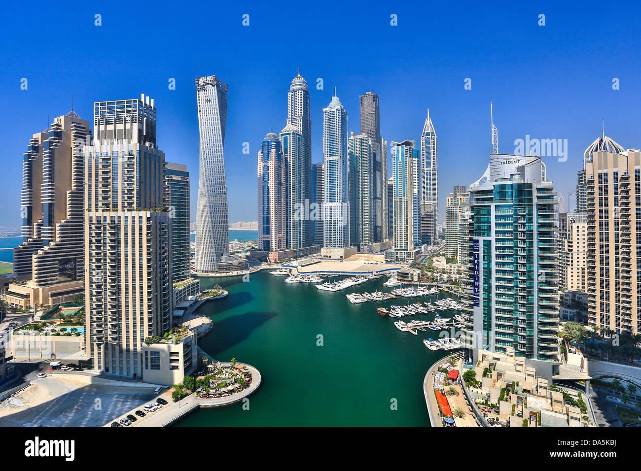 United Arab Emirates, UAE, Dubai, City, Dubai Marina, Dubai, architecture, boat, boats, buildings, construction, Stock Photo