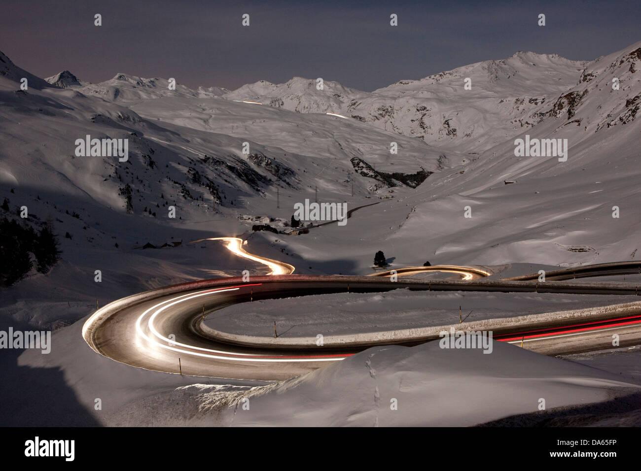 Julier, mountain pass, Pass, street, night, dark, traffic, transport, canton, GR, Graubünden, Grisons, Switzerland, - Stock Image