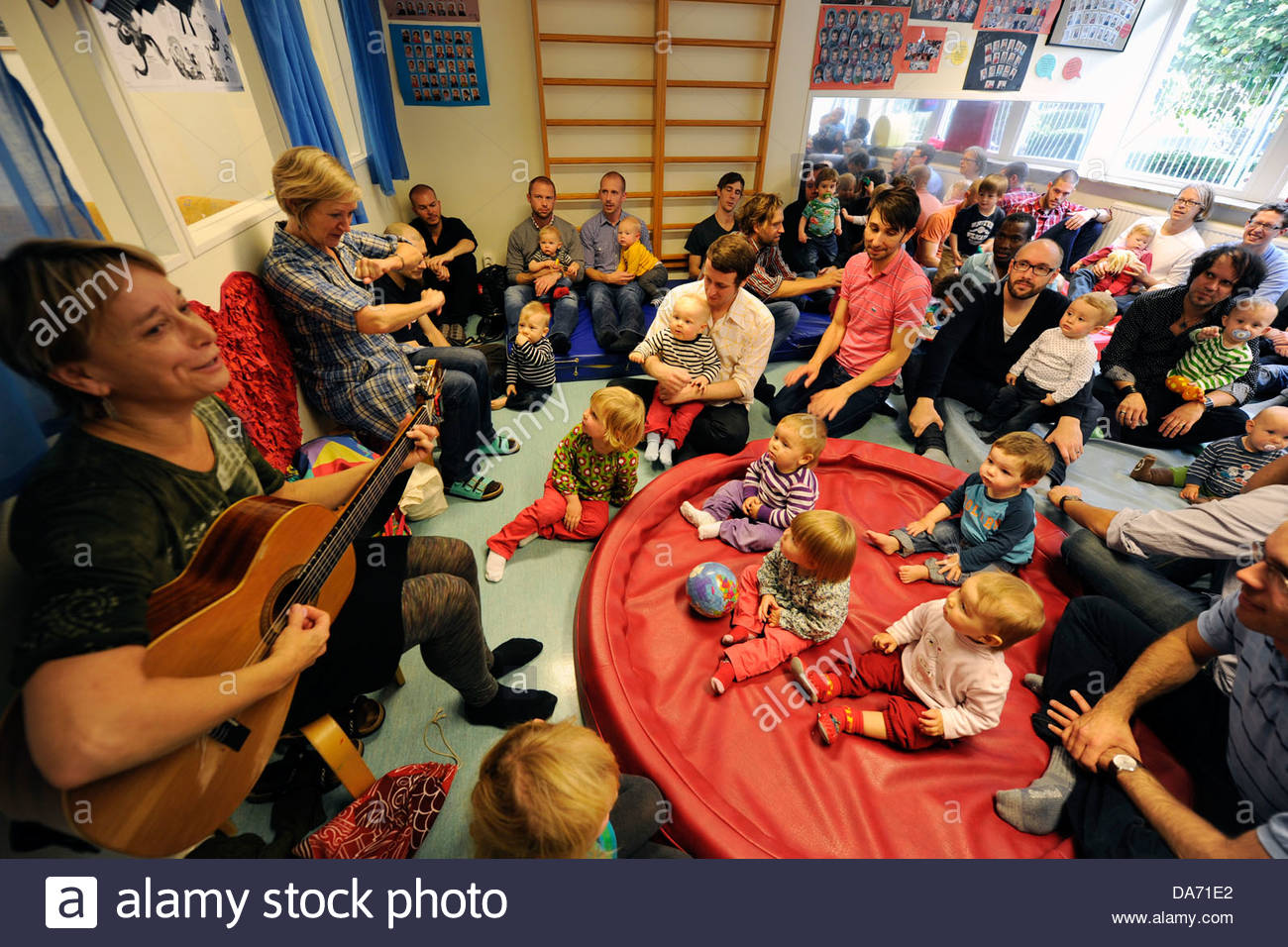 day nursery exclusively dedicated to dads in paternal leave house family in neighborhood mollevang in malmo sweden - Stock Image