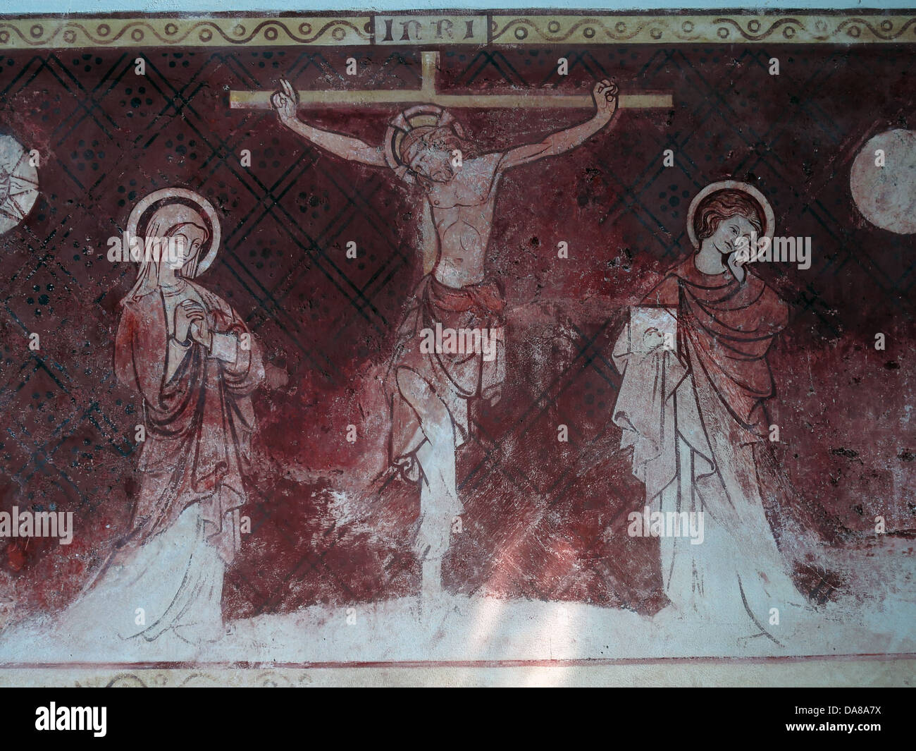 Detail,of,restored,14th,century,wallpainting,forming,the,altarpiece,in,the,parish,aisle,at,Dorchester,abbey,red,dorchester-on-thames,oxen,church,aisle,altar,main,on,thames,crucification,crucifixion,Peoples,peoples,chapel,the,original,14th,century,St,mary,John,sun,moon,gotonysmith relics reproduced christ Christianity oxford oxfordshire,Buy Pictures of,Buy Images Of