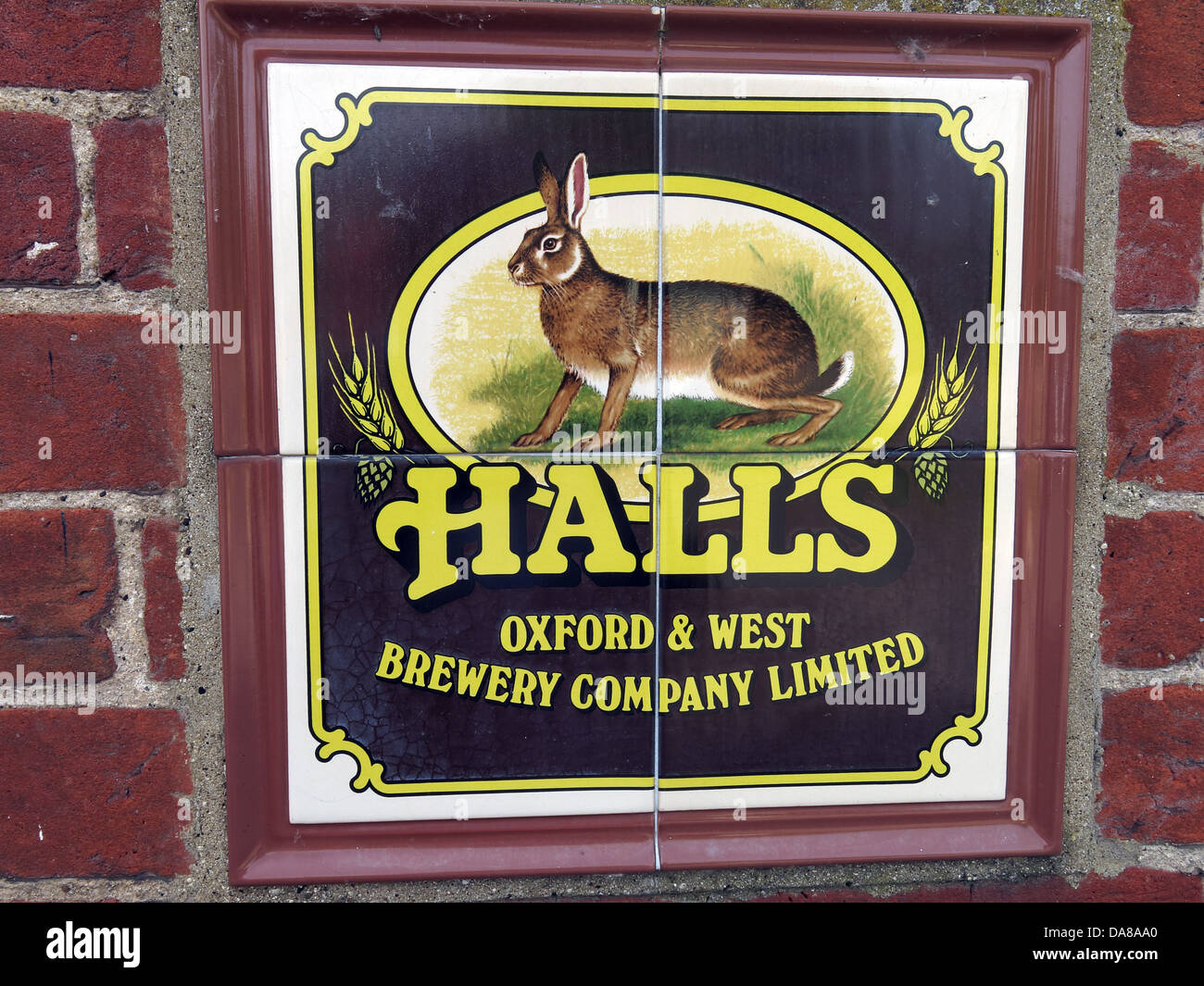 halls,and,brewing,company,limited,hare,brown,yellow,log,Dorchester,on,Thames,in,a,wall,mounted,name,adopted,by,Allied,Breweries,Great,Britain,British,beer,ale,animal,rabbit,Square,ceramic,plaque,made,up,of,four,tiles,illustration,of,a,hare,and,4,Abingdon,Bath,Street,st,OX10,7HH,OX107HH,gotonysmith,forgotten,past,old,traditional,english,Camra,real,unique,classic,Oxford&West,oxon,oxfordshire,county,country,registered,office,in,Staffordshire,southern,england,english,attractive,logo,trademark,trade,mark,Jubilee,House,Second,Avenue,Burton,Upon,Trent,DE14,2WF,Burton-Upon-Trent,DE142WF,high,st,street,Buy Pictures of,Buy Images Of