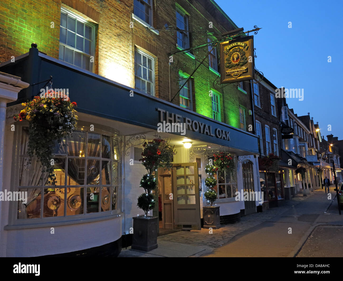 The Royal Oak pub in Marlborough,Wiltshire,SW,England,at,dusk,traditional,english,public,house,beers,beer,bar,ale,ales,blue,hour,bluehour,south,west,tourist,tourism,warm,bright,SL8,1NZ,SL81NZ,CAMRA,gotonysmith,Buy Pictures of,Buy Images Of