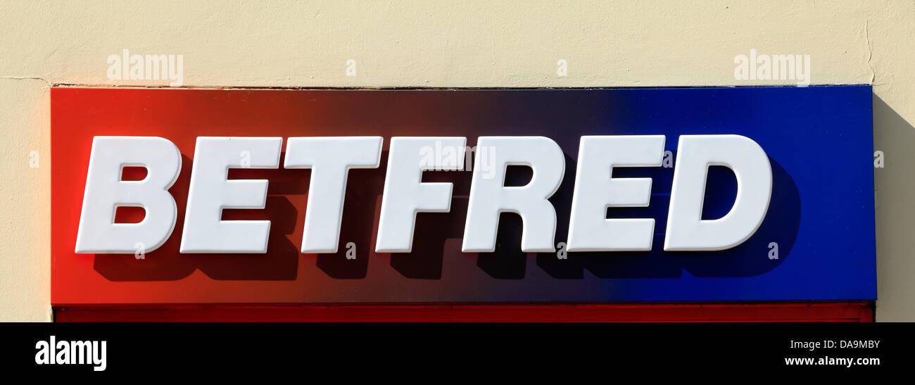 Betfred logo, shop sign, England UK, betting shop shops logos - Stock Image