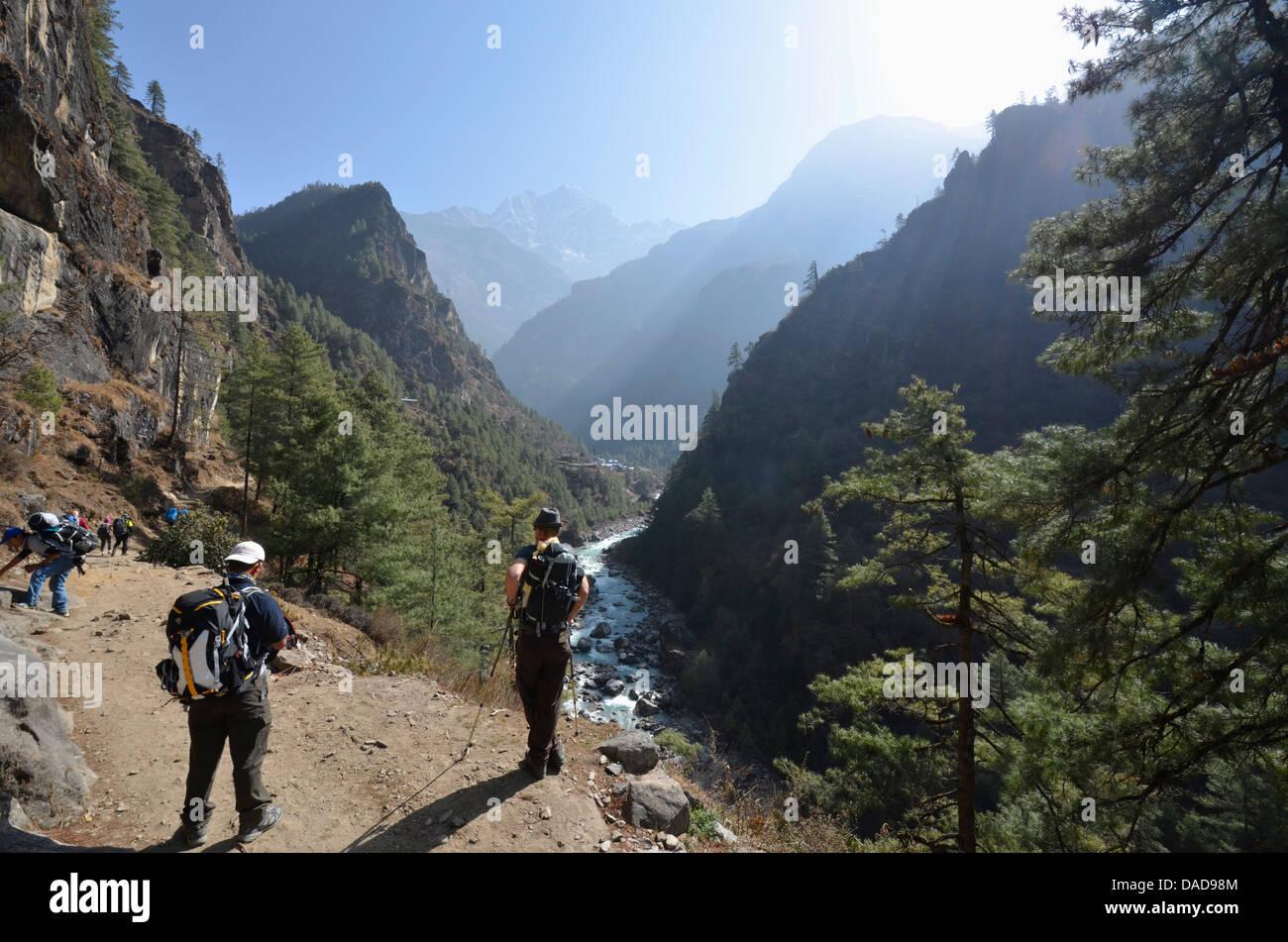 Kathmandu to Base Camp trek, Solu Khumbu Everest Region, Sagarmatha National Park, UNESCO World Heritage Site, Nepal, - Stock Image