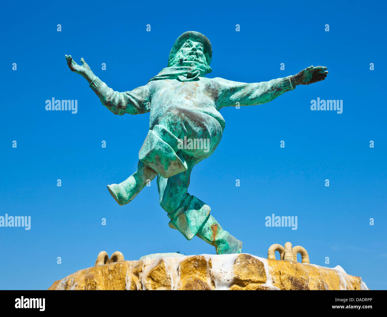 Jolly fisherman statue Skegness Tower Gardens Lincolnshire england UK GB EU Europe - Stock Image