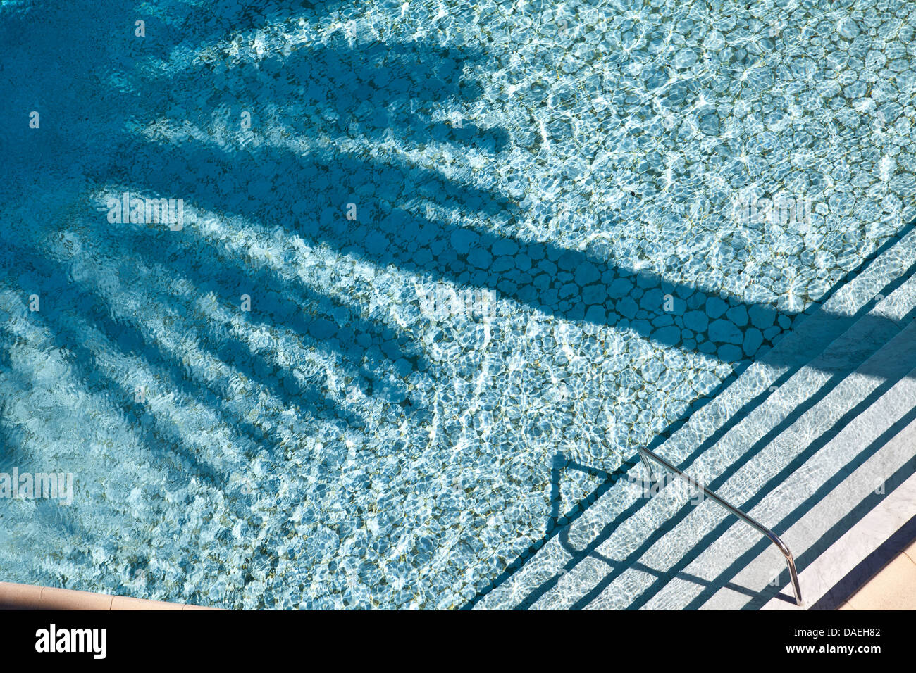 Swimming pool with palm tree shadow in pool. - Stock Image