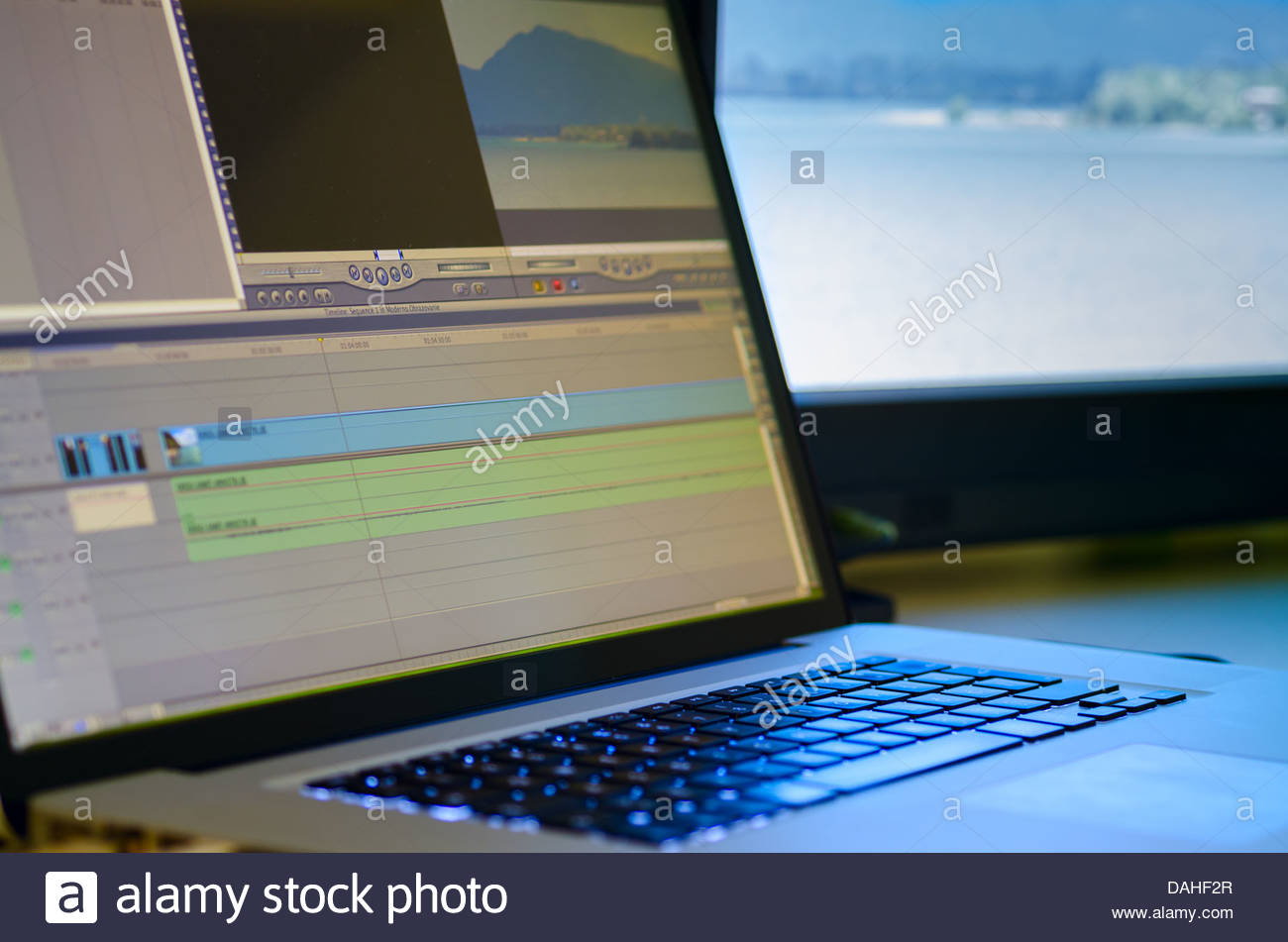Non-Linear editing system with preview monitor - Stock Image